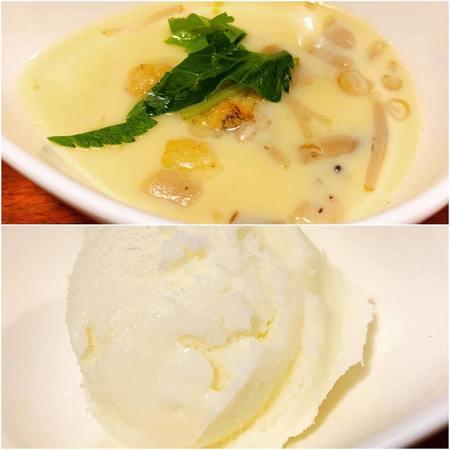 梅味堂ランチ鶏スープの茶わん蒸しとシャーベット