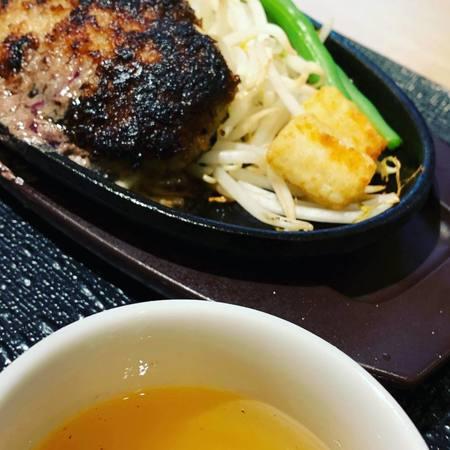タケル超粗挽きハンバーグステーキとスープ