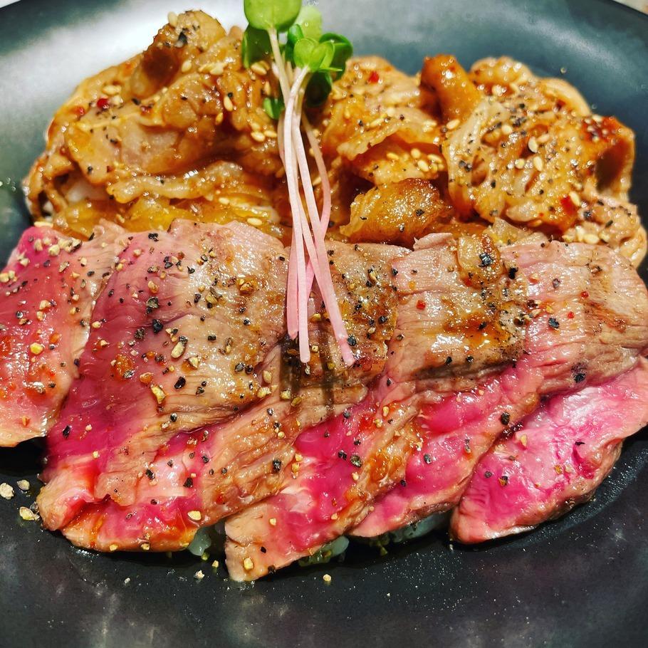 赤身ステーキ&炙りカルビライス