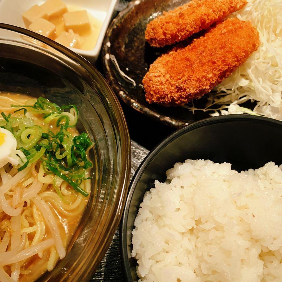 冷やしラーメン&コロッケ定食