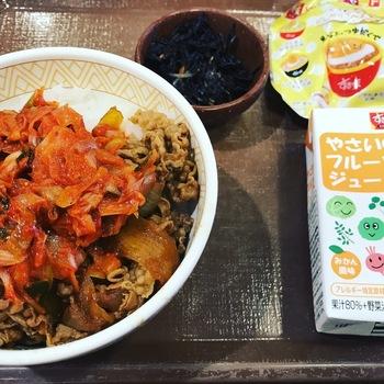 ねぎキムチ牛丼(並盛)すきすきセット