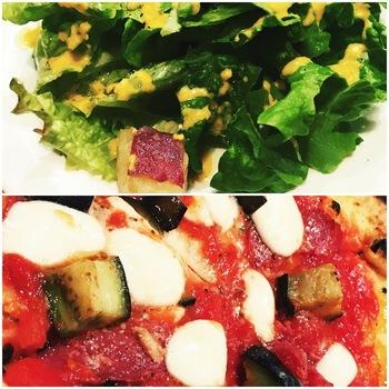 サラミと茄子のピッツァ